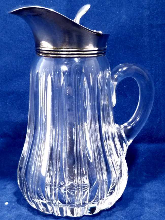 Antique Cut Glass Syrup Pitcher with Sterling Lid