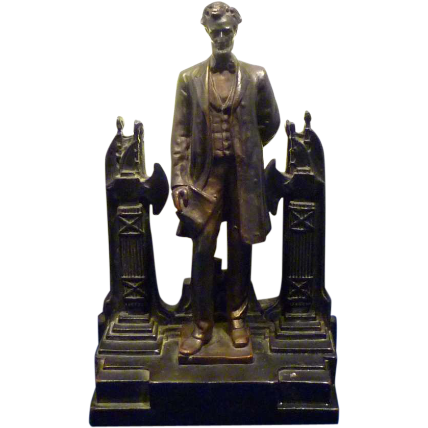 Rare  1930s Lamp Abraham Lincoln by Pompeian Bronze