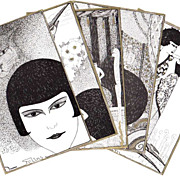 Super Art Deco 5 Postcard Set by E. Bornand