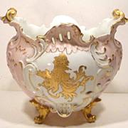 Ornate Victorian Porcelain Jardiniere with Pink & Gilt Decoration