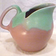Big Green over Mauve Art Deco MUNCIE Pitcher