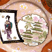 c1890s Japanese Plate with Geisha & Raised Gilt