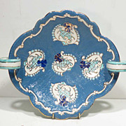 Vintage DERUTA ITALY Incised & Enameled Handled Pottery Tray