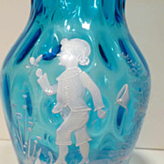 Victorian Mary Gregory Glass Vase Boy Catching Butterflies - Red Tag Sale Item