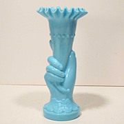 Vintage Blue Opaque Glass Hand Vase