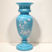 Large Antique Decorated Blue Bristol Glass Vase