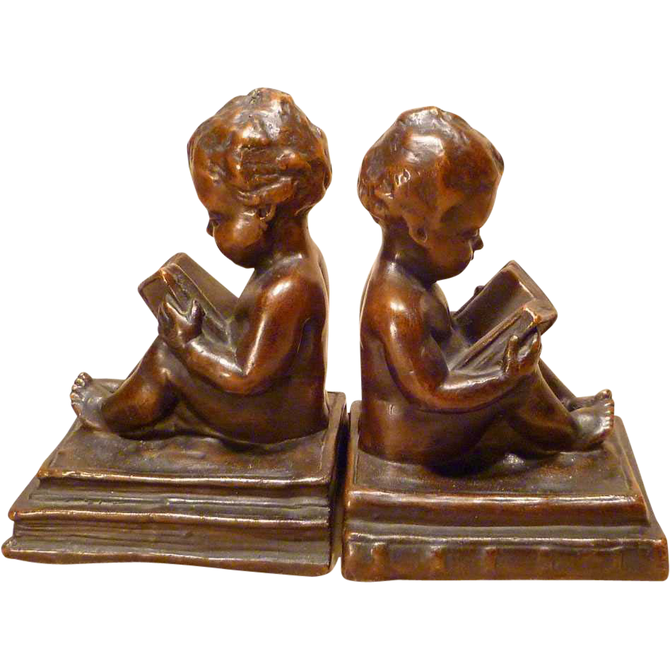 1920s Bookends Young Wisdom Nude Baby With Books Sold On