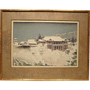"1950s Japanese Woodblock Print ""Kiyomizu Temple Kyoto"" by Tokuriki"