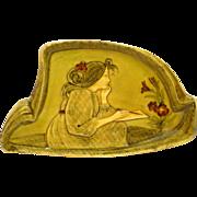 Art Nouveau Majolica Pin / Dresser Tray Pensive Lady Artist