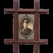 tramp art photo frame w firemans photo