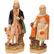 Blind Fiddler & Wife Staffordshire Figures