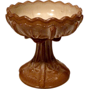 Greentown Cactus Chocolate Glass Compote