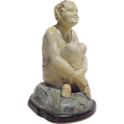 Joe Descamps Louis Lourioux Seated Faun French Pottery Figure