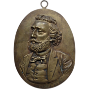 Antique Bronze Plaque French Statesman Leon Gambetta