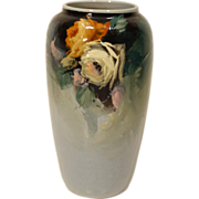 Large Finely Painted Weller Eocean Vase with Roses