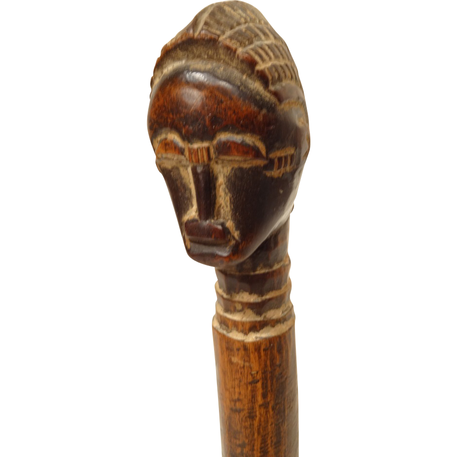 Vintage African Carved Wood Whisk Handle From Collectors