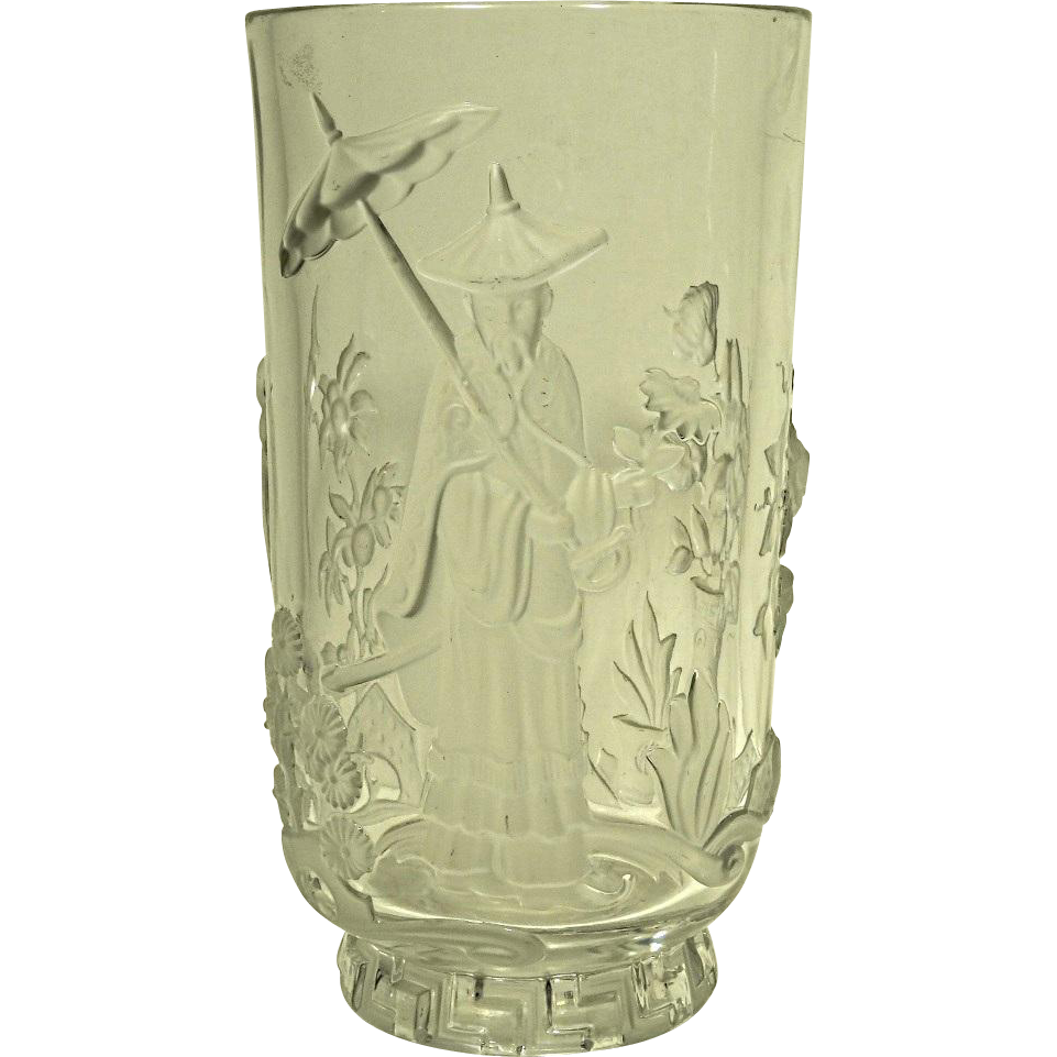 verlys art deco mandarin glass vase from collectors row on. Black Bedroom Furniture Sets. Home Design Ideas