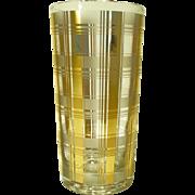 8 MCM Culver LTD 22kt Gold Plaid Highball Glasses