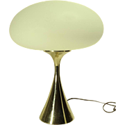 1960s Laurel Mushroom Table Lamp w/ Brass Base