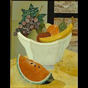 Vintage Italian Pietra Dura Framed Plaque Still Life with Watermelon