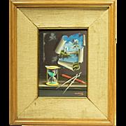 c1960s Trompe L'Oeil Still Life Painting by Alfano Dardari