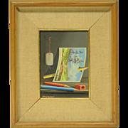 c1960s Trompe L'Oeil Still Life Painting by Alfano Dardari with Pencils