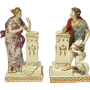Beautiful Pair of German Porcelain Figures with Pedestals and Swan
