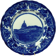 Flow Blue Souvenir Plate of the US Capitol Buliding Washington DC by Adams
