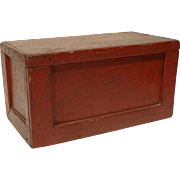 Primitive Miniature Blanket Chest in Old Red Paint