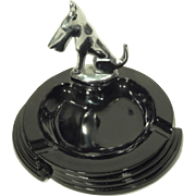 Art Deco Chrome Scottie Dog and Black Glass Ashtray