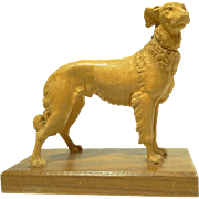 Vintage Swiss Wood Carving of a Borzoi Dog by Jobin of Switzerland
