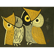 """c1950 Kaoru Kawano Japanese Woodblock Print """"Three Eyes"""" Owls"""