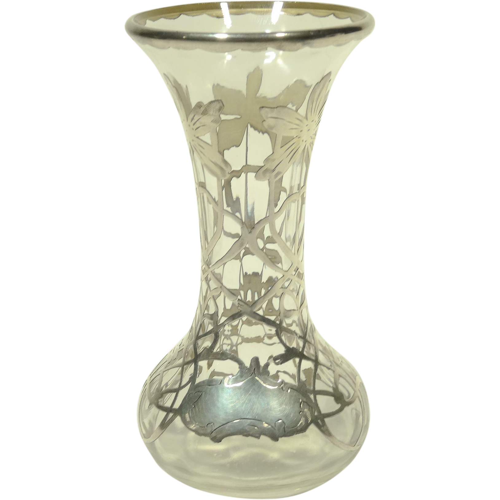 Silver overlay clear glass vase from collectors row on - Bureau transparent verre ...