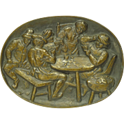 19th Century Bronze Plaque The Card Players