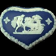 19th Century Wedgwood Heart Shaped Blue & White Box