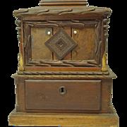 Antique Folk Art / Tramp Art Ballot Box Signed & Dated 1875