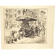Flower Stand San Francisco etching by Arthur W. Palmer