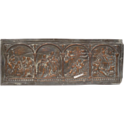 Antique Repousse Copper Plaque with Christian Religious Imagery