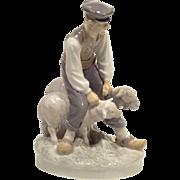 Vintage Royal Copenhagen Figurine Farmer With Sheep