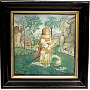 1920s Handpainted Italian Tile Scene of Knight Praying