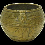 Vintage African Bronze Basket Form Bowl Ashanti Akan Ghana