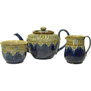 c1910 Royal Doulton Stoneware 3 piece Tea Set