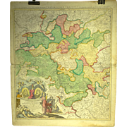 18th Century Map of Franconia Region of Germany by Homann