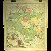 18th Century Map of Franconia Region of Germany by Homann