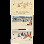 "Harry Eliott ""La Vie Sportive"" Artist Signed 10 Postcard Set with Wrapper"