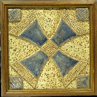 Rare Douglas Ferguson Pigeon Forge Pottery Stoneware Quilt Square Tile