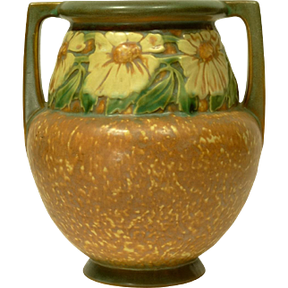 1920s Roseville Dahlrose Handled Vase #367-8