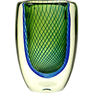 Mid Century Kosta Vase by Vicke Lindstrand Blue Pinstripes on Green