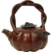 Vintage Chinese Yiking Pumpkin Shaped Teapot in Zisha Clay