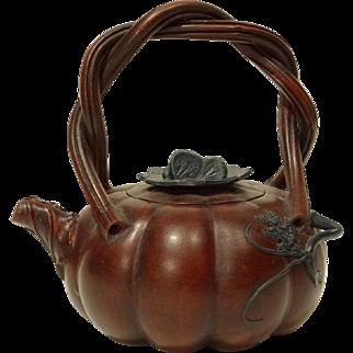 Vintage Chinese Yiking Pumpkin Shaped Teapot in Zisha Clay